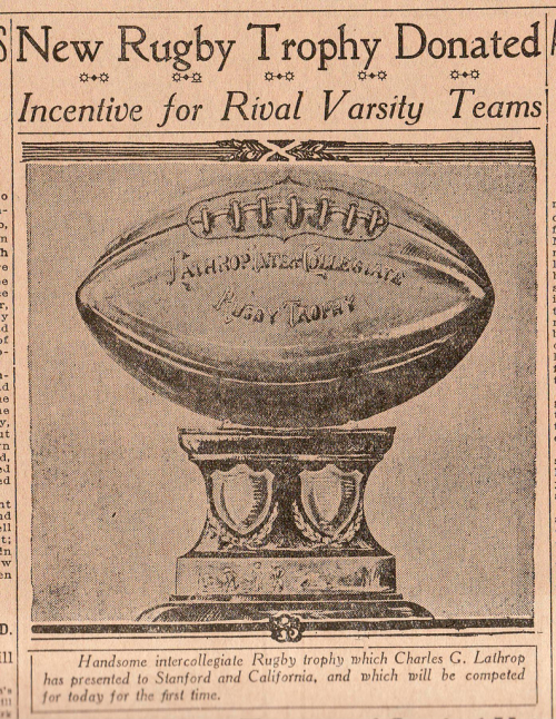Lathrop intercollegiate rugby trophy 1912